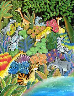 "Jungle Animal Scene, Canvas Art of Haiti - Haitian Painting - Primitive Caribbean Art, Canvas Painting - 20"" x 24""  by TropicAccents"