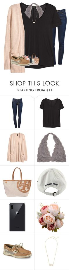 """""""AHHH RTD RTD RTD!!"""" by rileykleiin ❤ liked on Polyvore featuring Frame, The Row, H&M, Tory Burch, Vineyard Vines, Sperry and Kendra Scott"""