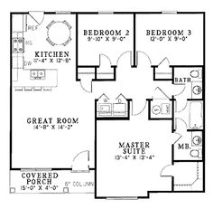 House Plan 04600004 Ranch Plan 988 Square Feet 3 Bedrooms 15
