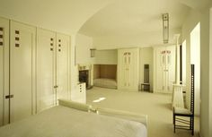 Charles Rennie Mackintosh also designed the main bedroom, which contains many original items of furniture designed by the Glasgow based Artist.