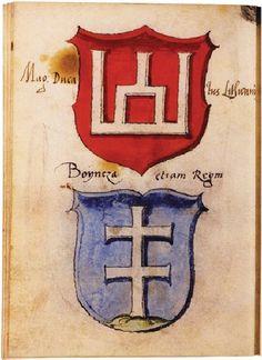 Columns of Gediminas and Cross of Jogaila (Stemmata Polonica, Paris), mid-16th century