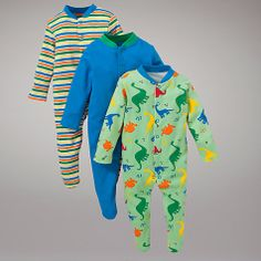 Buy John Lewis Baby Dinosaur Stripe Sleepsuit, Pack of 3, Green/Multi Online at johnlewis.com £16