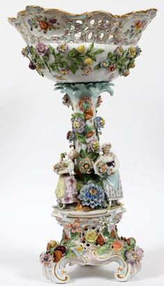 "Carl Thieme, Dresden Porcelain (Germany) — Comport . H:19 1/4"",  Late 19th  Century   (600x1044)"