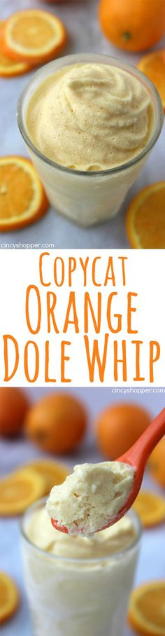 Copycat Orange Dole Whip- No trip to Disney Needed. This cold treat is non-dairy and includes great orange juice flavors. Perfect summer time dessert that is super refreshing