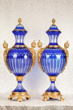 Photo of Empire Glass Urns Ormolu Satyr Head Handles Vases French