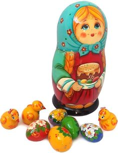 """Unique Easter Gifts - Wooden Nesting Doll with Baby Chicken and Eggs Figurine Toys - Handmade Russian Matryoshka Dolls. Set of 9 pcs - 7"""" Tall"""