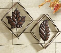 Metal Leaf Wall Decor master- above bed. flower metal wall panels | set 3 gold bronze