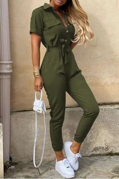 2021 Casual Printed One-Piece Solid Jumpsuits Jumpsuit Outfit, Casual Jumpsuit, Black Jumpsuit, Casual Pants, Bodycon Jumpsuit, Black Romper, Khaki Pants, Trend Fashion, Look Fashion