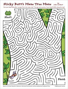 "maze activity inspired by my book ""Sticky Burr: Adventures in Burrwood Forest"" (published by Candlewick Press) Counseling Activities, Preschool Learning Activities, Kids Learning, Activities For Kids, Maze Worksheet, Printable Mazes, Mazes For Kids, Maze Game, English Worksheets For Kids"