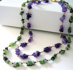 """""""Chinese chrysoprase and amethyst chip necklace 