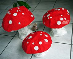 Süße Deko für den Frühling: Pappmaché-Pilze