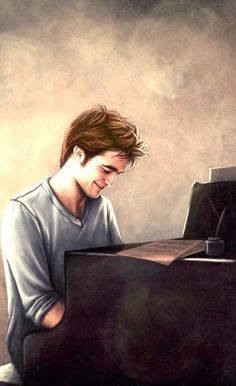 Edward Cullen fan art. I love it when he plays the piano!