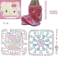 Pining for Maple, she loves her some hello kitty. Hello Kitty Granny Square crochet ☀CQ Thanks so much for sharing! Mala Hello Kitty, Crochet Hello Kitty, Chat Hello Kitty, Hello Kitty Bag, Crochet Motifs, Crochet Diagram, Crochet Squares, Crochet Chart, Crochet Stitches