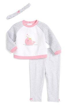 Little Me 'Whale' Top, Leggings & Headband Set (Baby Girls)