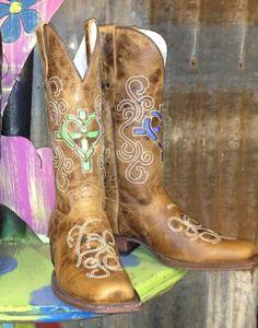 c0961544ece2de Dusty Rocker Western Boots Womens Diane Heart Cross SQ Brown DRW2011 Square  Toe Boots