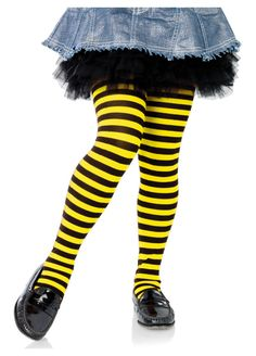 Girls Black And Yellow Striped Tights by Leg Avenue Striped Stockings, Striped Tights, Black Tights, Childrens Fancy Dress, Fancy Dress For Kids, Yellow Stripes, Black N Yellow, Heart Tights, Leg Avenue