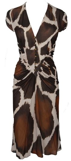 Roberto Cavalli Giraffe Print Dress