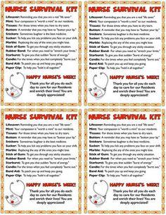 Nurse's Week gift ideas - a Nurse Survival Kit I whipped up. Nurses Week Gifts, Staff Gifts, Nurses Day, Nurse Gifts, Teacher Gifts, Nursing Survival Kit, New Job Survival Kit, Survival Kit Gifts, Nurse Appreciation Week