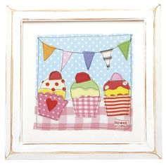 3 Little Cupcakes Shabby chic cupcakes framed print in a hand painted frame, sitting underneath cute bunting. http://www.coolkidsrooms.co.uk/#!product/prd1/933822254/3-little-cupcakes