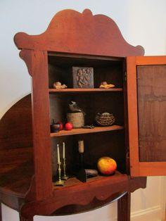Antique+1800s+New+England+Cherry+Wood+Hanging+Mirror+Door+Corner+Cupboard+aafa++#Chippendale+#Unknown