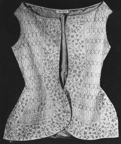 1700-1725, England - Jacket - Embroidered linen with silks, silk ribbon, lined with silk