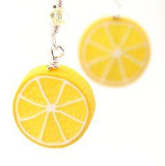 Lemon earrings  lemon half earrings by inediblejewelry on Etsy, $24.00