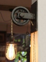 Rustic Pulley Wall Sconce Farmhouse Lighting Wall Lamps & Sconces