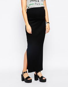 Image 4 ofNew Look Maternity Ribbed Maxi Skirt With Side Split