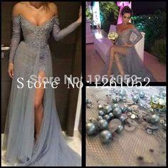 Amazing Style 2015 Elegant Royal Grey V-Necked HIgh Slit Floor-length Evening Dresses With Appliques Custom Made