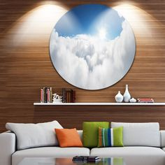 Designart ' Sky and Sun over Clouds' Contemporary Landscape Circle Wall Art