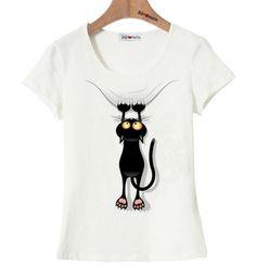 e91310759a3e Vtipné dámské tričko s potiskem padající kočky bílé – Velikost L Na tento  produkt se vztahuje