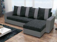Rohová sedačka PRAGA, černá látka/šedá ekokůže Rohová sedačka PRAGA Obrázky rozložené sedačky jsou ilustrativní (jiná barva)! Sedačka je univerzální = roh lze smontovat na pravý i levý. Zadní část sedačky je potažená látkou, je tedy … Couch, Furniture, Home Decor, Settee, Decoration Home, Sofa, Room Decor, Home Furnishings, Sofas