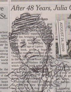Our doodles on newspaper look just as good. Okay maybe not, but what a nice Julia Child drawing!