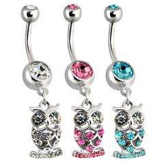 Dangling Steel Owl Navel Ring with Paved CZs.  #accessories #bodyjewelry #piercing #jewelry #piercings #bellyring #owl #navelring ♥ $7.98 via OnlinePiercingShop.com