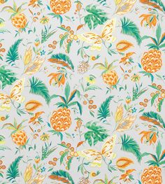 Habanera Fabric A Cuban rhythmical dance lends its name to this tropical toile cotton fabric, featuring green, orange and lemon flowers, pineapples and butterflies on a French grey ground.