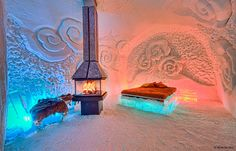 Ice Hotel. Hotel De Glace in Canada. Think TJ would be upset if I made her sleep in an igloo on our honeymoon lol