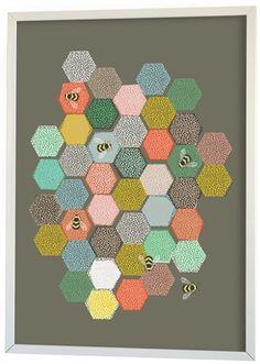 Littlephant Poster Bee Hive Grå