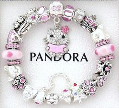 Pandora Christmas Charm Bracelet New Pink Silver Hello Kitty Love Cz Crystals on eBay!