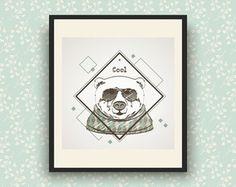 Pôster Digital 25x25 - Urso Hipster