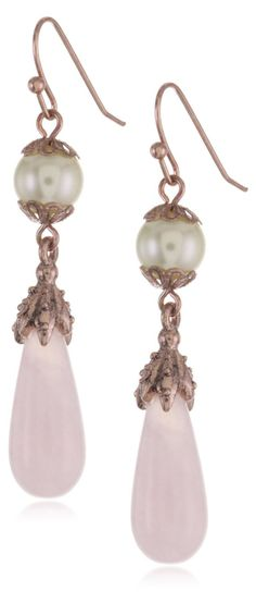 Rose Gold and Silver Tone Angel Earrings 1928 Jewelry