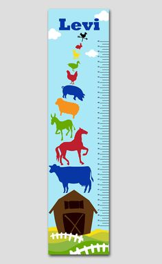 This personalized farm animal growth chart is perfect for your newborn's nursery, child's bedroom or playroom. Makes a thoughtful gift, coordinates with several popular nursery decor lines and best of all is completely personalized with your child's name.