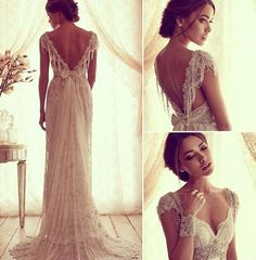 2015 Sexy Anna Campbell V Back Wedding Dresses Cheap Beach Wedding Dresses Beads Capped Sleeves Vintage Lace Bridal Gowns Chic Wedding Gowns Wedding Robe, Dream Wedding Dresses, Wedding Gowns, Chic Wedding, Ivory Wedding, Backless Wedding, 20s Wedding, Weeding Dress, Wedding Beach