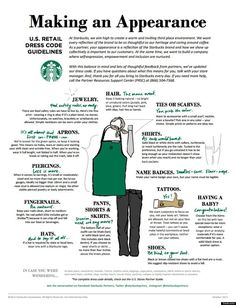 Starting October you might notice that your local Starbucks barista (at company-operated locations in the U. Starbucks has made its first official overhaul of. Starbucks Dress Code, Starbucks Uniform, Starbucks Jobs, Starbucks Art, Working At Starbucks, Starbucks Coffee, Starbucks Drinks, Dress Code Policy, Dress Codes