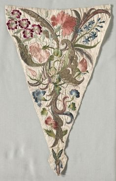 Stomacher (Devant de Corsage), 1700s, Italy, embroidery; silk and metal on satin