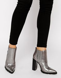 shiny metallic pointy toe leather chelsea ankle boots with high block heel - ladies boots