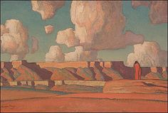 Remembrance of Tusayan - Dixon, Maynard (American, 1875 - Fine Art Reproductions, Oil Painting Reproductions - Art for Sale at Galerie Dada Western Landscape, Landscape Art, Landscape Paintings, Art Paintings, Painting Art, Illustrations, Illustration Art, Maynard Dixon, Shape Collage