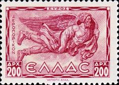 Picture of GREECE - CIRCA 1943 A stamp printed in Greece from the Airmail - Greek Mythology Winds issue shows Evros South-east wind , circa 1943 stock photo, images and stock photography.