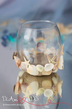 Rustic beach wedding votive candles sea wedding by RusticBeachChic