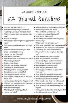 52 Journaling Ideas for Memory Keeping – Scrap Booking