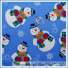 BonEful Fabric Cotton Quilt Blue White Red FROSTY Snowman Xmas Kid US SALE SCRAP #DaisyKingdom Scrap Fabric Projects, Fabric Scraps, Christmas Squares, Blue Quilts, Cotton Quilts, Mitten Gloves, Pattern Fashion, Snowman, Xmas